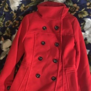 Red H&M Wool Double Breasted Pea Coat